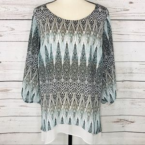 AGB Top Geometric Lined 3/4 Sleeves Scoop Neck